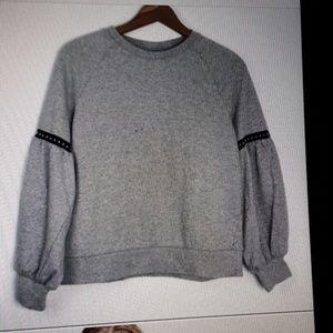 Klab gray studded bishop sleeve sweatshirt M